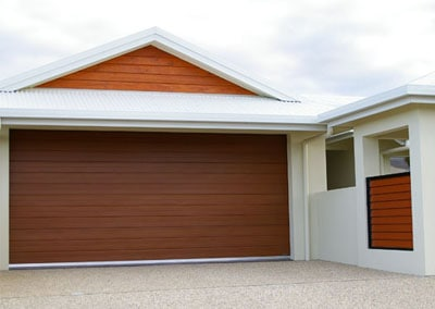 DecoWood® Garage Door - Glacier profile, Iron Bark colour